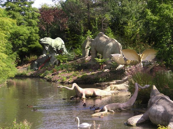 Crystal Palace Park, England.  A Victorian playground where sculpture Benjamin Waterhouse Hawkins erected the first lifesized models of the (then) newly-discovered dinosaurs and other extinct animals in the park.