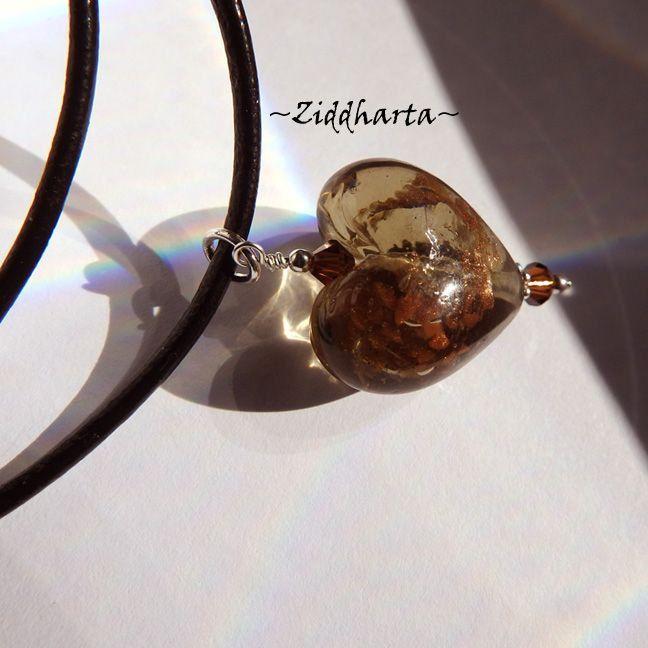 Heart Bronze Necklace SteamPunk Necklace Swarovski Crystals Dark Topaz Necklace  LampWork Goldsand- Handmade Jewelry Necklaces by Ziddharta by Ziddharta on Etsy