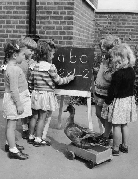 Donald the Duck joins in the lessons at Grange Park School, 1952 (Photo by Chris Ware/Getty Images)