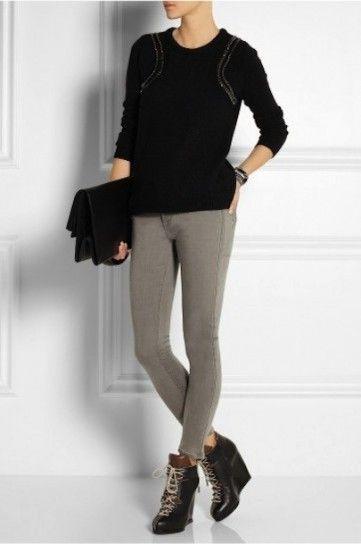 Francesine con tacco alto e pantaloni skinny
