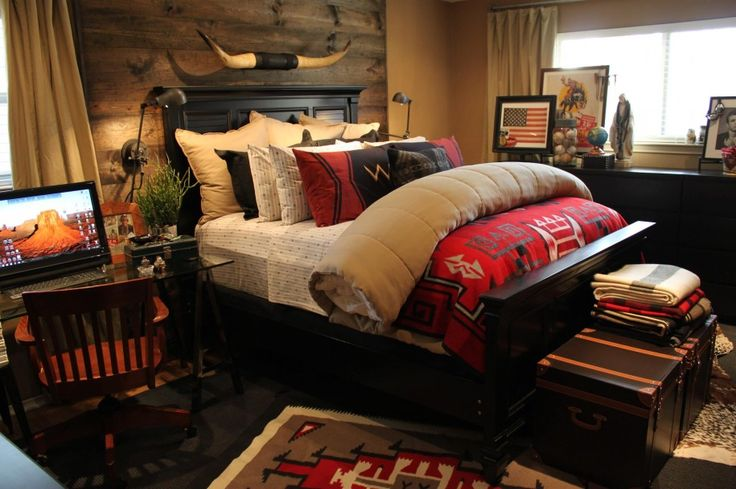 How to Create Your Rustic Bedroom Look Stunning: Rustic Bedroom Ideas And Beds For Small Bedrooms In Southwestern Bedroom Design Ideas With Decorative Pillows And Glass Desk Also Rustic Headboard ~ franklester.com Bedroom Inspiration