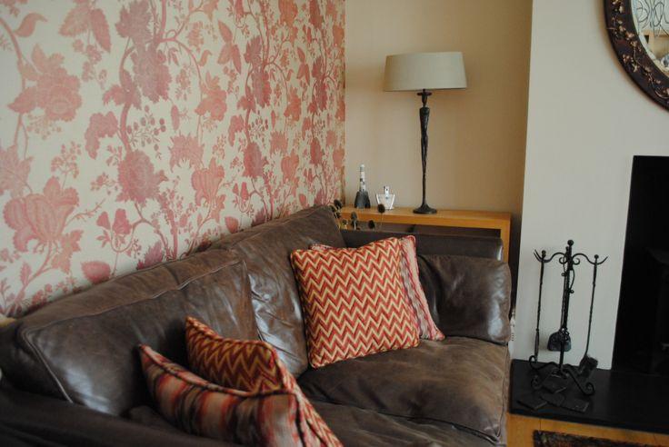 Living Room Scheme in Brighton - Nina Campbell  wallpaper, Beacon Hill & Mulberry cushion fabrics,  Porta Romana Man Lamp and bespoke mirror from Joseph McCarthy Mirrors.