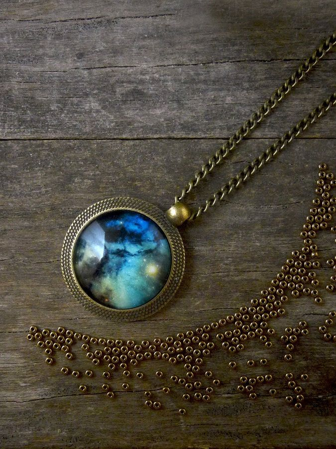 Universe pendant Galaxy necklace, Blue green space necklace, Universe jewelry…