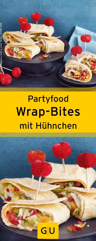 """Fingerfood für Silvester: Rezept für leckere Wrap-Bites mit Hühnchen. Ihr findet es in der Leseprobe zum Buch """"Partyrezepte"""".⎜GU"""