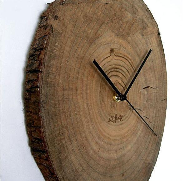 Rustic camphor wood log wall clock | Minimalist Primitive home decor gifts