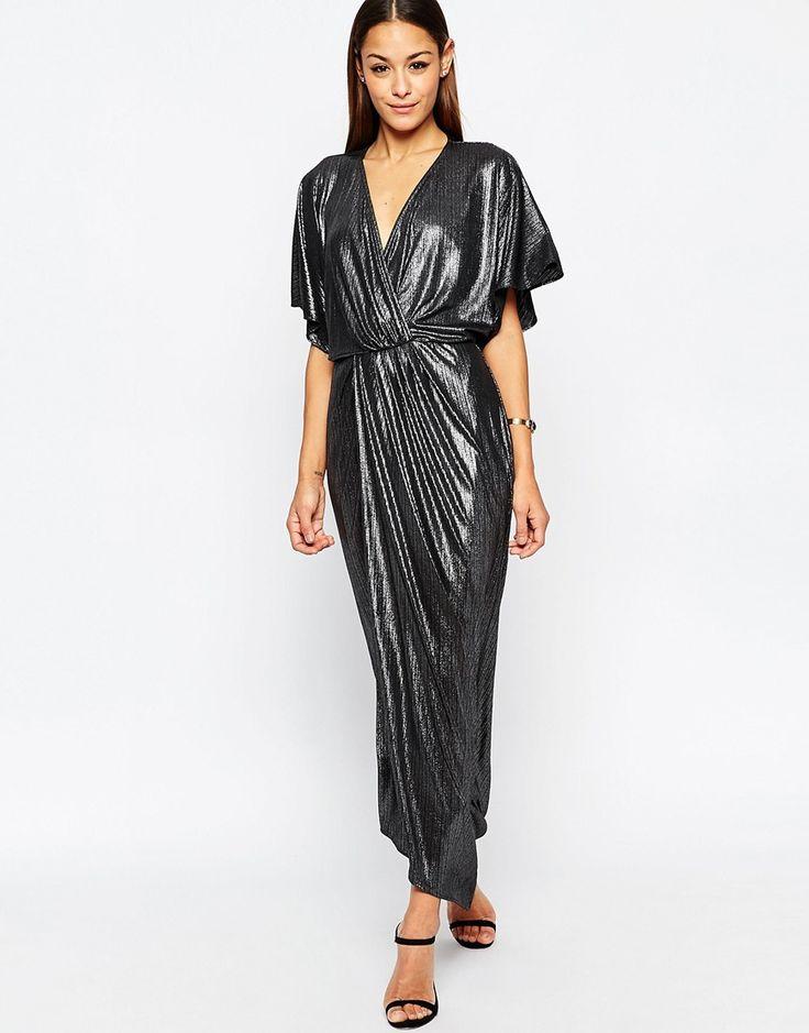Image 1 ofASOS Metallic Wrap Kimono Maxi Dress