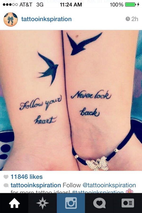 27 birds on wrists bff tattoo