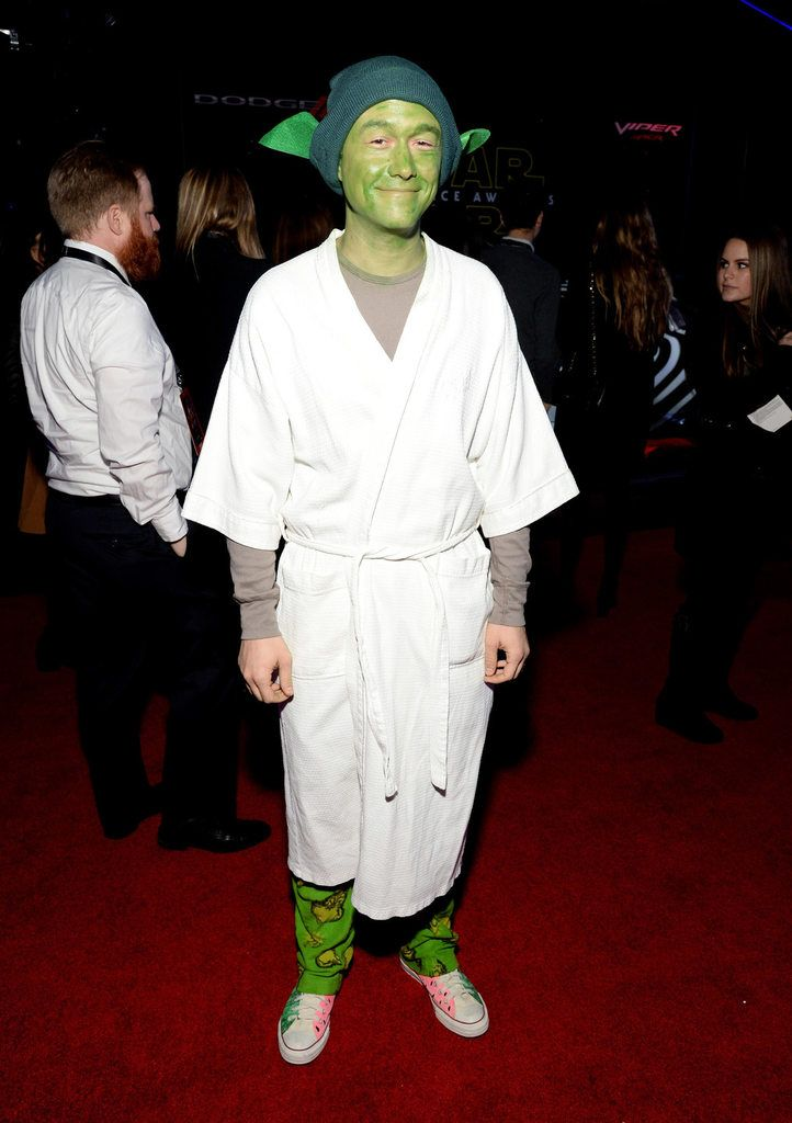 Joseph Gordon-Levitt dressed as Yoda at the Star Wars premiere in LA