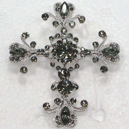 12 piece/lot черный маркиза кристалл горный хрусталь крестики булавка брошь и кулон C248 H