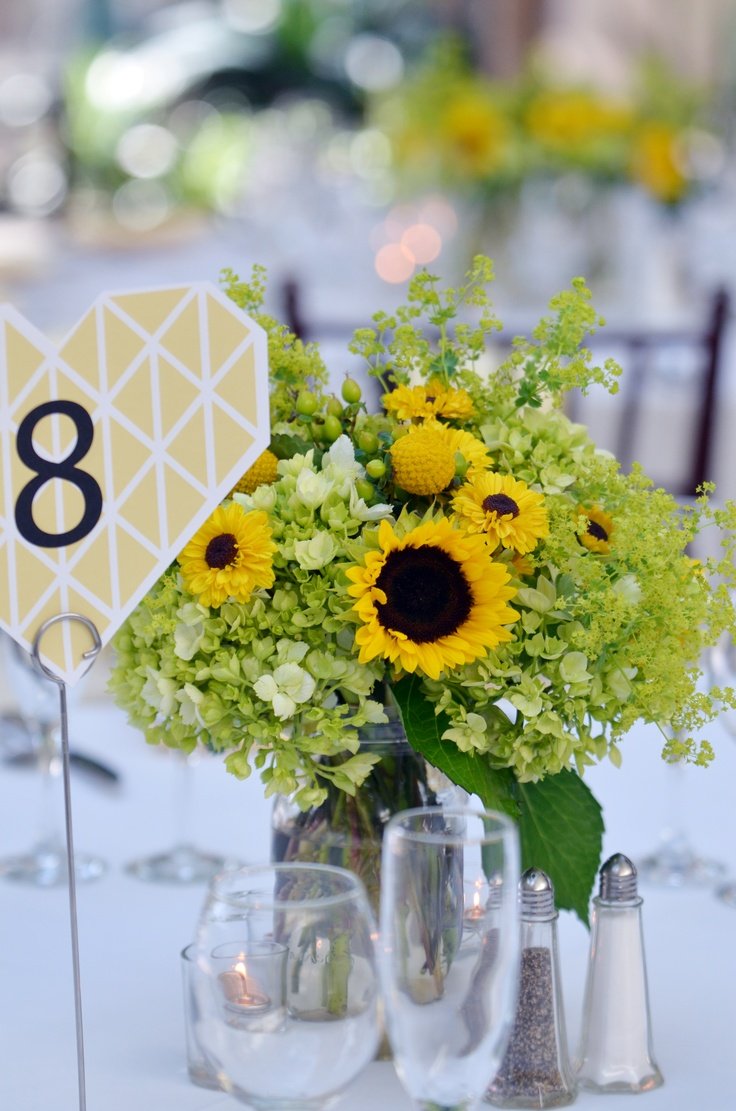 Sunflower Centerpiece At The Atrium Meadowlark Botanical Gardens In Vienna VA Find This Pin And More On 50th Wedding Anniversary