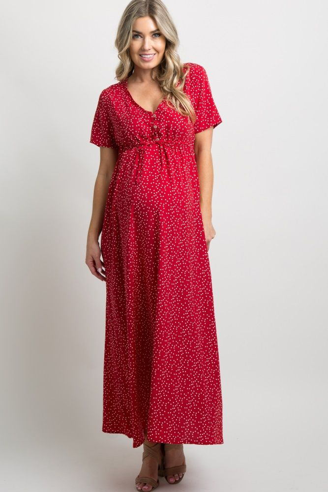 bdd63d001 Red Polka Dot Button Front Maxi Dress | Baby Fashion | Pink blush ...