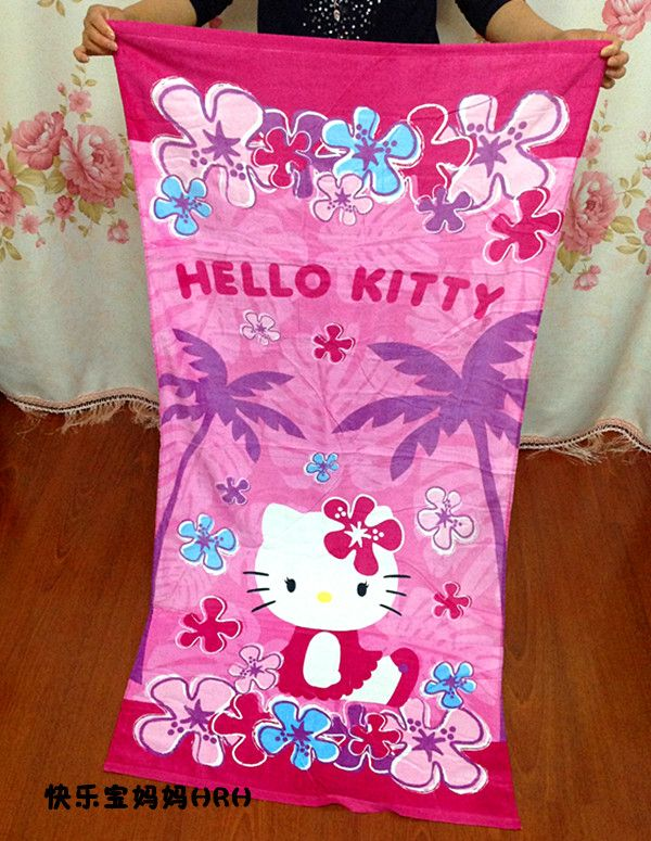 Soft Towel Hello Kitty Shower Bath Towel Cartoon Style Kids Towels For Beach Serviette De Plage Lovely Soft Absorbent 155*75cm