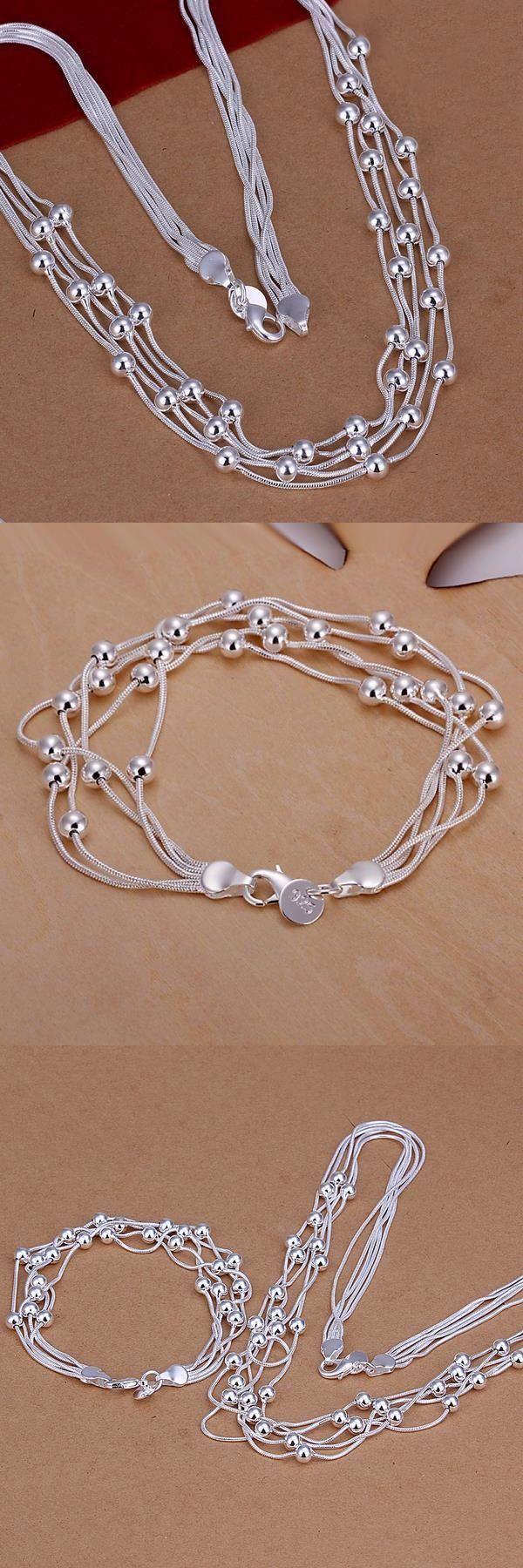 S063 Wholesale Silver set Beads necklace bracelet bridal wedding jewellery set joyas de plata best jewelry