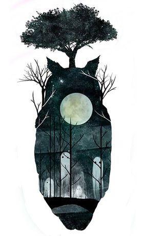 Full Moon Spirits Totoro Print #illustration #print
