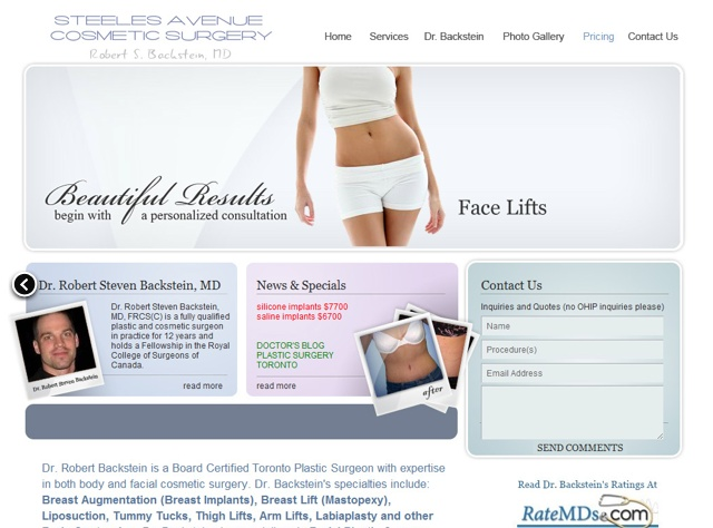 Steeles Avenue Cosmetic Surgery website designed by Fusion Studios Inc.