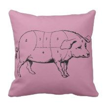 Pig Vintage Illustration Meat Cuts Throw Pillows