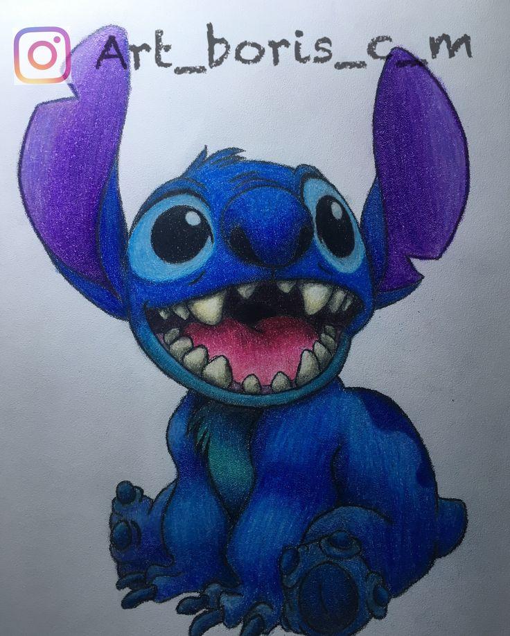 Un stitch, bello dibujo echo en color por: art_boris_c_m