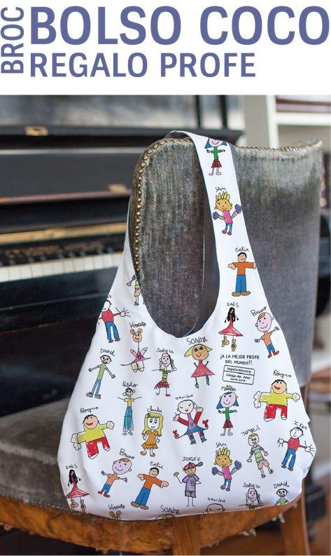 Broc Bolso personalizado con dibujos coloreados de sus alumnos. Un regalo único para el profe. Regalos personalizados con los nombres o dibujos de tus niños. ¿Se te ocurre algún regalo con más sentimiento?
