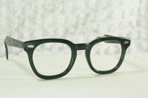 vintage 60s mens glasses 1950s black eyeglasses american
