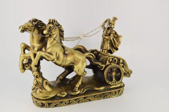 Roman chariot/ Polyester/ Bronze plated 27X18cm by CraftsAndMetal