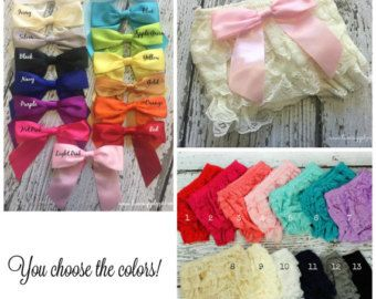 Lace Baby Bloomers with Bow - You Choose the Colors and Size! Please check stock! Photo Shoot-  Ruffle Diaper Cover - Ruffle Bum Lace Diaper