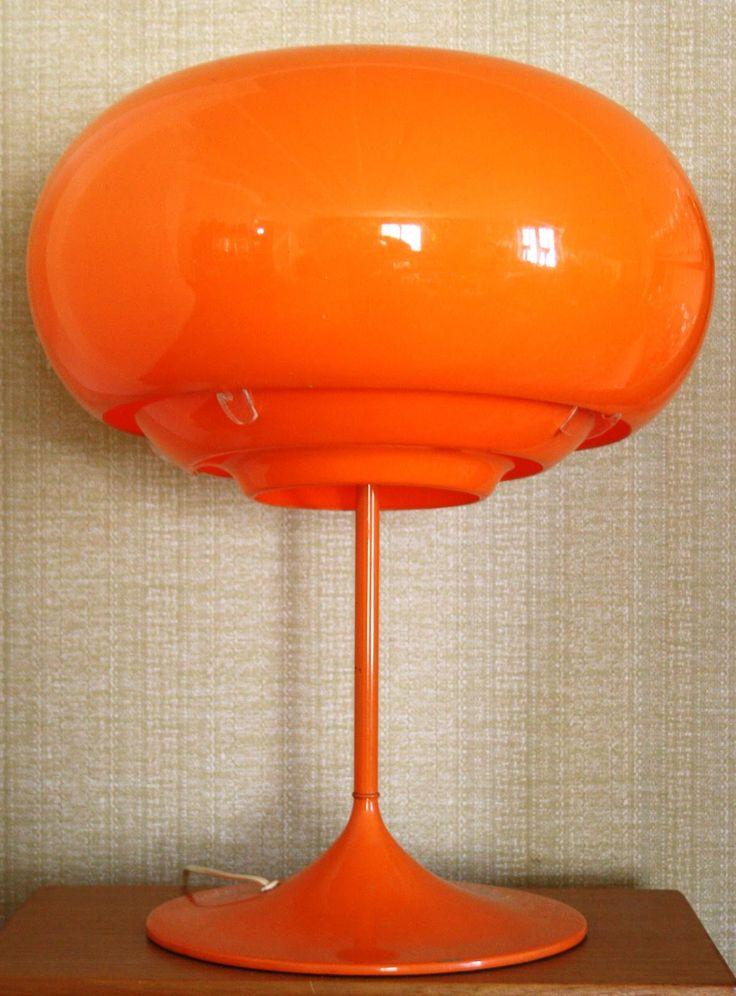 Mod •~• vintage orange table lamp