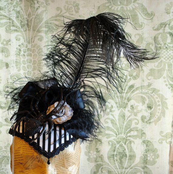 Striped Halloween Headpiece with Sparkling Spider and Curled Ostrich