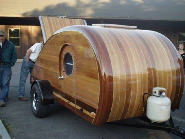 A rather gorgeous example of a wooden tear drop trailer van | WoodworkerZ.com