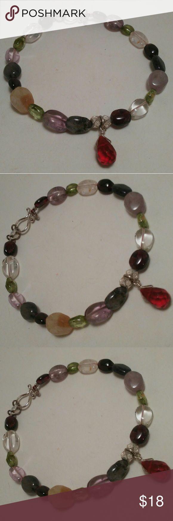Red Rhinestone Charm beaded stone bracelet Red Rhinestone Charm beaded stone bracelet, 7.5 inches Jewelry Bracelets