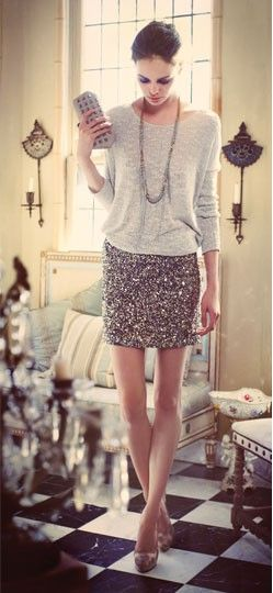 Wear a Sequin Skirt Almost Anywhere