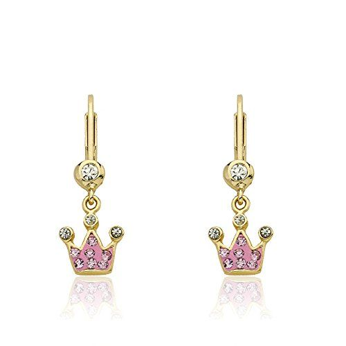 """Molly Glitz """"Pretty Princess"""" 14k Gold-Plated Pink Colored Crystal Crown Leverback Earrings"""