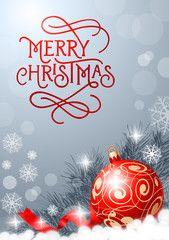 Merry Christmas Lettering and Mistletoe - image | Adobe Stock