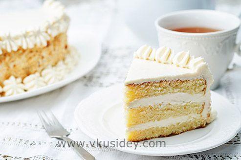 Бисквитный торт с карамельно-сливочным кремом - www.vkusidey.com