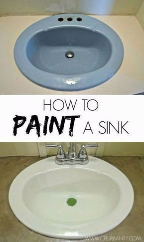 DIY Home Improvement On A Budget - Paint Your Old Sink - Easy and Cheap Do It Yourself Tutorials for Updating and Renovating Your House - Home Decor Tips and Tricks, Remodeling and Decorating Hacks - DIY Projects and Crafts by DIY JOY http://diyjoy.com/diy-home-improvement-ideas-budget #houserenovations