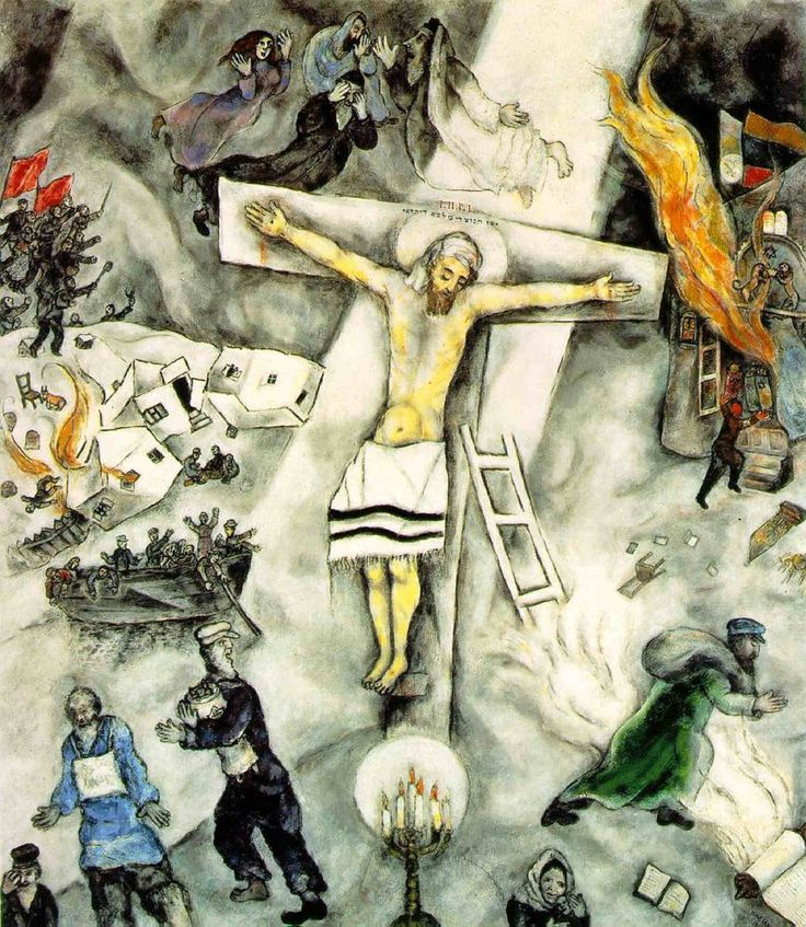 Marc Chagall's 'White Crucifixion' - such an poignant way of displaying Jewish suffering in the pogroms and making an  analogy to Christ suffering on the cross.