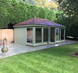 Hanley garden office with hipped roof