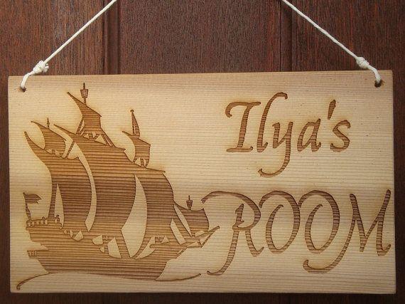 Personalised Boy's Door Sign  Pirate Ship Laser by BezalelArtShop