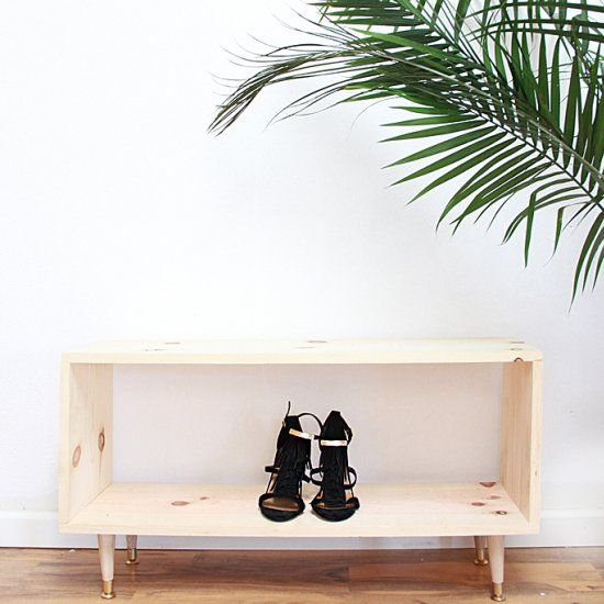 DIY a wooden shoe rack with a midcentury vibe.