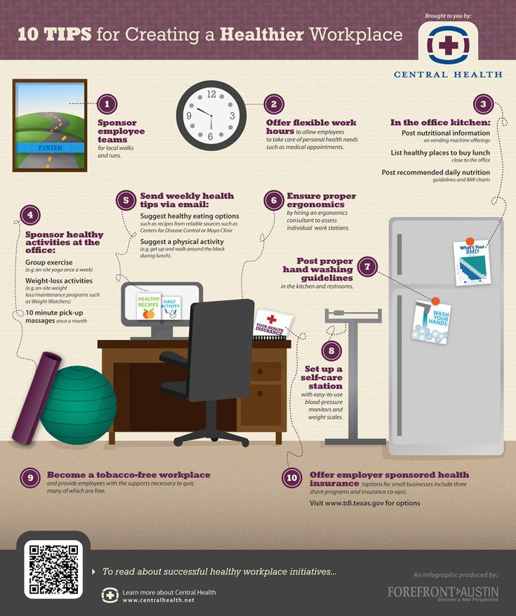 10 tips for creating a healthier workplace  #health #work #infographic