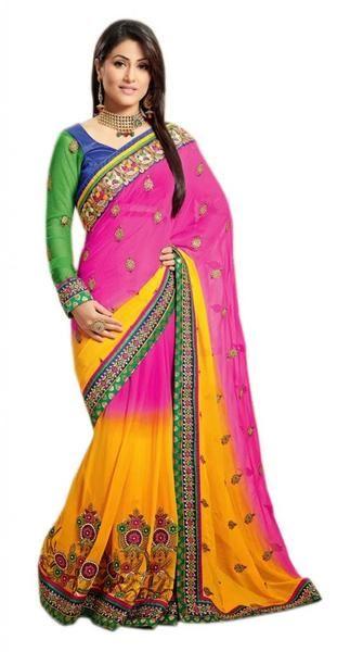 LadyIndia.com #Wedding Saree, Latest Designer Wedding Bridal Saree - 7009 - Multi Coloured, Wedding Saree,Bridal Saree,Party Wear, https://ladyindia.com/collections/ethnic-wear/products/latest-designer-wedding-bridal-saree-7009-multi-coloured