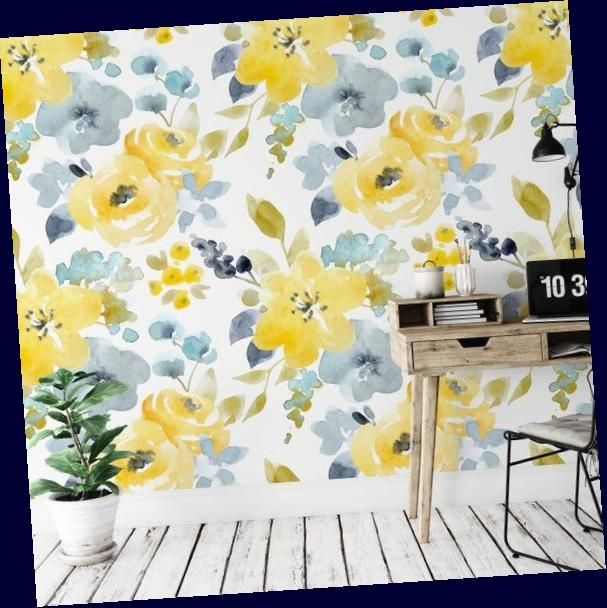 Watercolor Yellow Floral Removable Wallpaper Peel And Stick Etsy Watercolor Yellow Floral Rem Removable Wallpaper Yellow Accent Walls Wallpaper Accent Wall