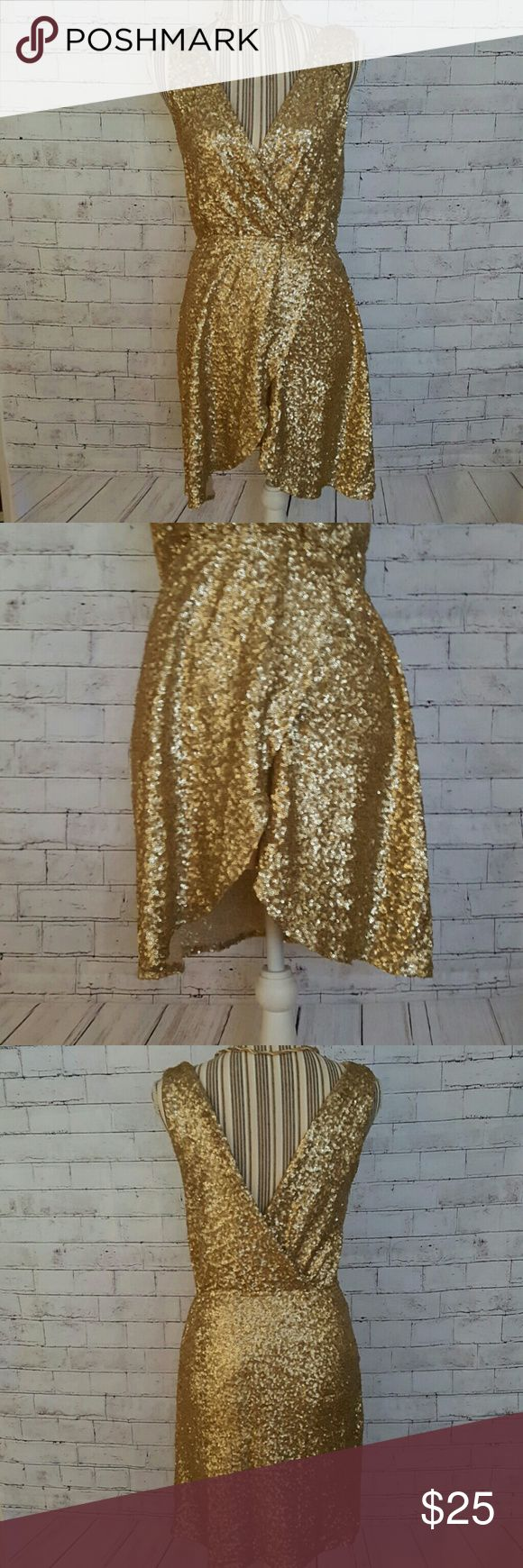 Sleeveless gold Sequin dress sleeveless gold Sequin dress, size medium with stretch and tulip wrap skirt. There's no tags on it at all but it's originally from asos. There's a small little coffee drop stain on the inside front I've shown in photos.    Sorry, I don't model but the mannequin is way hotter anyway. Necklace not included! ASOS Dresses Midi