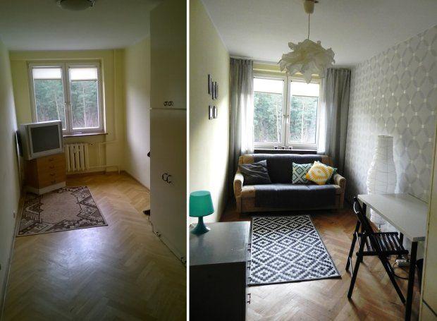 Wąski pokój w bloku przed i po. Metamorfoza bez wielkich wydatków