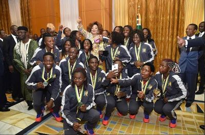 President Biya and wife host the Indomitable Lionesses of Cameroon, praise their dedication and hard work - http://www.thelivefeeds.com/president-biya-and-wife-host-the-indomitable-lionesses-of-cameroon-praise-their-dedication-and-hard-work/