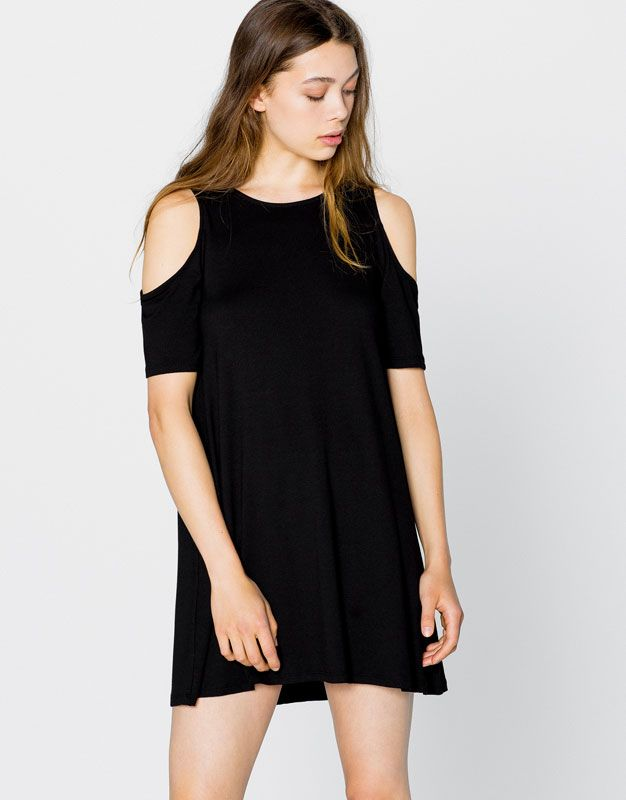 DRESS WITH SHOULDER OPENINGS - DRESSES - WOMAN - PULL&BEAR Israel