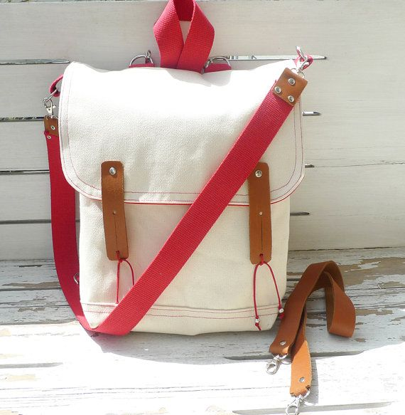 Canvas bag that's multifunctional. Messenger - backpack - school - travel - laptop bag! WANT!