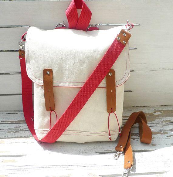 coral waxed canvas bag