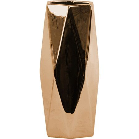 Add a pop of shimmer to your mantel or etagere with this eye-catching ceramic vase, featuring a polished chrome copper finish and hexagonal design.