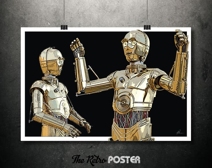 Star Wars Poster - C3P0 - Star Wars Gift, Star Wars Print, Star Wars Art, Movie Poster, Film Prints, Sci Fi, Space Art, Robot Print by TheRetroPoster on Etsy