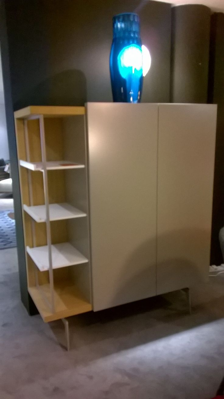 MIXTE highboard in Argile with Moutarde lacquer shelving niche. Was 2989, Now £2000. Ex-Display, Sold as Seen.